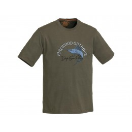 Pinewood T-Shirt Fish 2018 Khakigrün