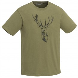 Pinewood Herren T-Shirt Red Deer Oliv